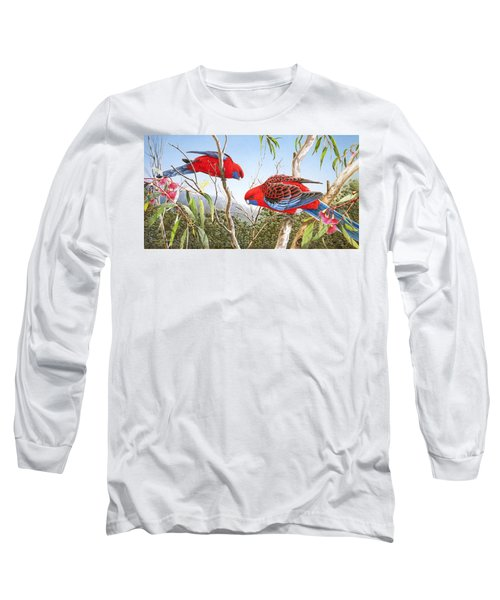 Our Beautiful Home - Crimson Rosellas Long Sleeve T-Shirt