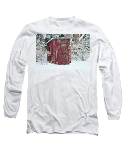 Outhouse Garden Shed In Winter, Marion Long Sleeve T-Shirt