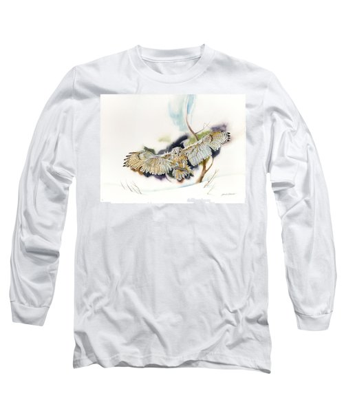 Long Sleeve T-Shirt featuring the painting Owl Catches Lunch by John Norman Stewart