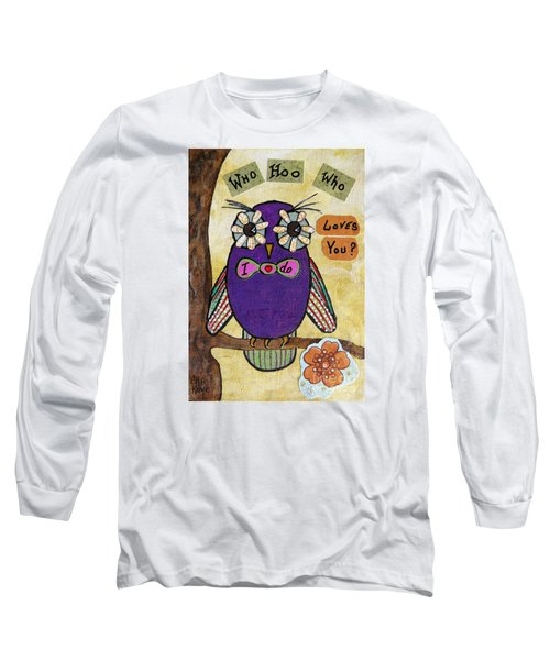 Long Sleeve T-Shirt featuring the painting Owl Love Story - Whimsical Collage by Ella Kaye Dickey