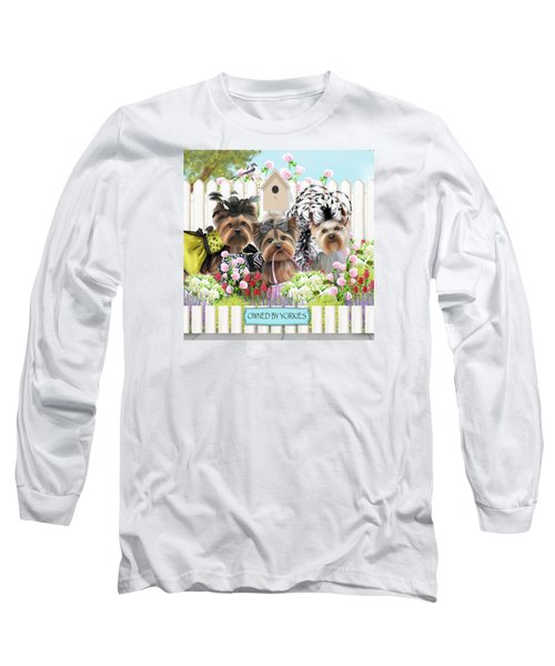 Owned By Yorkies II Long Sleeve T-Shirt by Catia Cho