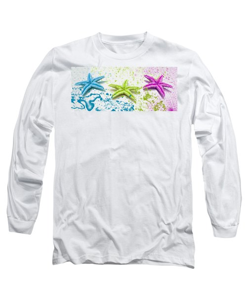 Paint Spattered Star Fish Long Sleeve T-Shirt