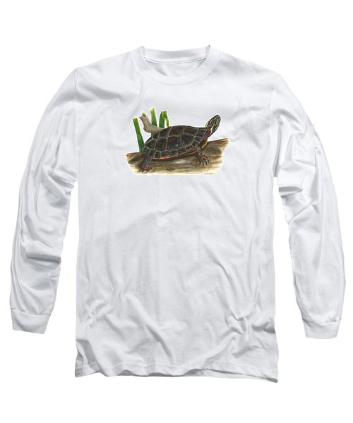 Painted Turtle Long Sleeve T-Shirt by Cindy Hitchcock
