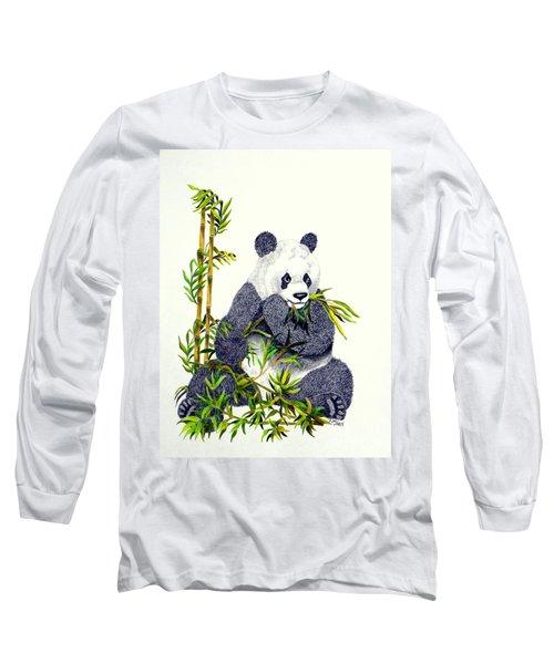 Long Sleeve T-Shirt featuring the drawing Panda  by Terri Mills