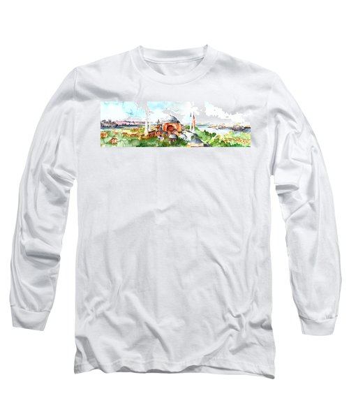 Long Sleeve T-Shirt featuring the painting Panoramic Hagia Sophia In Istanbul by Faruk Koksal