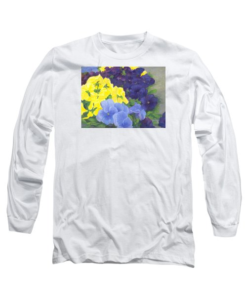 Pansy Garden Bright Colorful Flowers Painting Pansies Floral Art Artist K. Joann Russell Long Sleeve T-Shirt by Elizabeth Sawyer