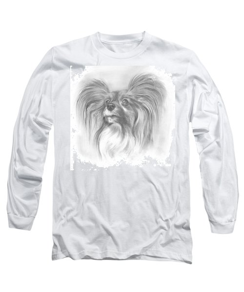Long Sleeve T-Shirt featuring the drawing Papillon by Paul Davenport