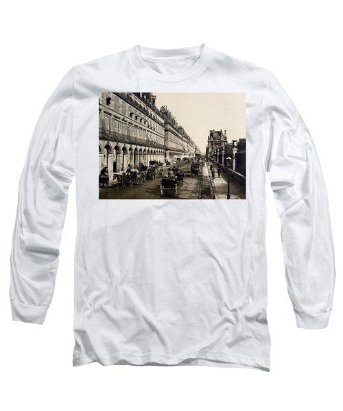 Paris 1900 Rue De Rivoli Long Sleeve T-Shirt by Ira Shander