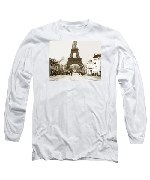 Long Sleeve T-Shirt featuring the photograph Paris Exposition Eiffel Tower Paris France 1900  Historical Photos by California Views Mr Pat Hathaway Archives