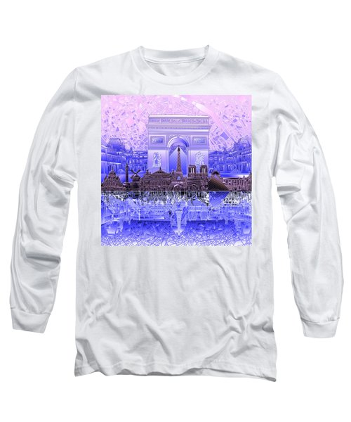 Paris Skyline Landmarks 7 Long Sleeve T-Shirt