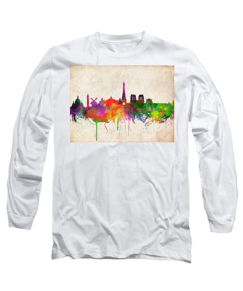 Paris Skyline Watercolor  Long Sleeve T-Shirt