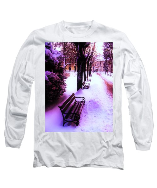 Long Sleeve T-Shirt featuring the photograph Park Benches In Snow by Nina Ficur Feenan