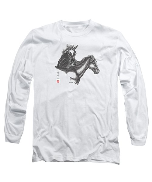 Long Sleeve T-Shirt featuring the drawing Passion by Bill Searle