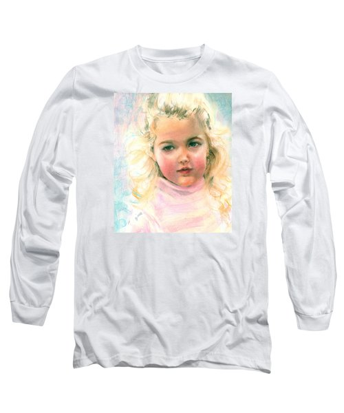 Long Sleeve T-Shirt featuring the painting Pastel Portrait Of An Angelic Girl by Greta Corens