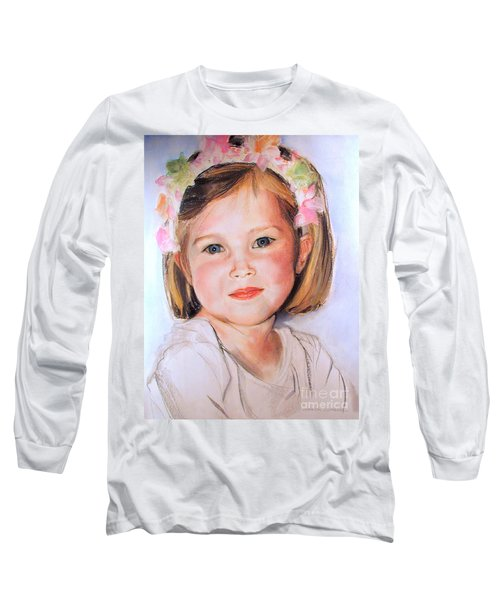 Pastel Portrait Of Girl With Flowers In Her Hair Long Sleeve T-Shirt by Greta Corens