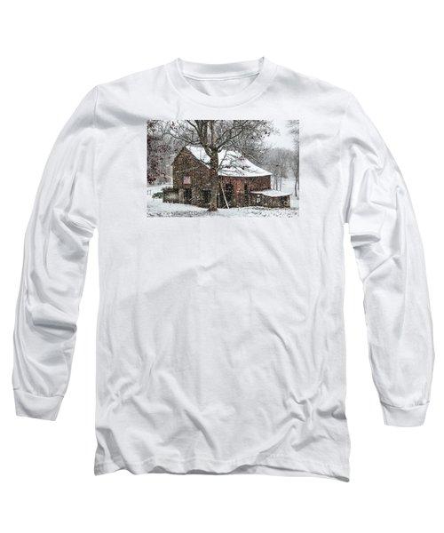 Patriotic Tobacco Barn Long Sleeve T-Shirt by Debbie Green