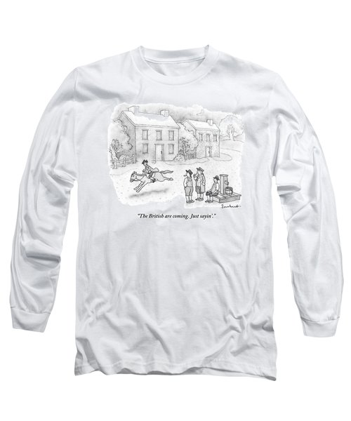 Paul Revere Rides Past Two Colonial Men Smoking Long Sleeve T-Shirt