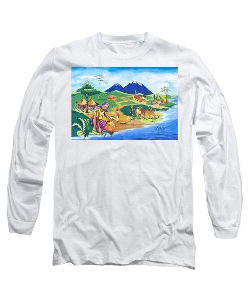Long Sleeve T-Shirt featuring the painting Paysage Du Nord Du Rwanda by Emmanuel Baliyanga