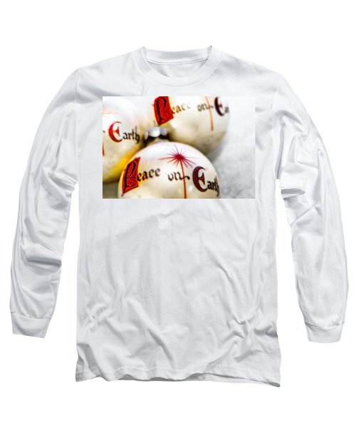 Long Sleeve T-Shirt featuring the photograph Antique Peace On Earth Christmas Decorations by Vizual Studio