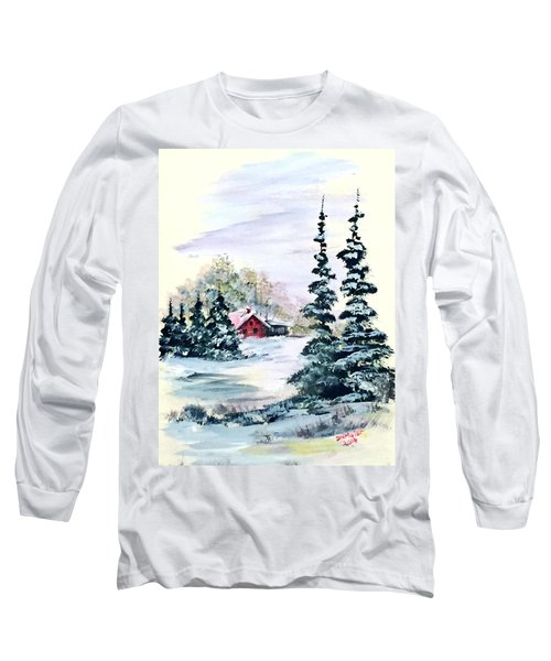 Long Sleeve T-Shirt featuring the painting Peaceful Winter by Dorothy Maier