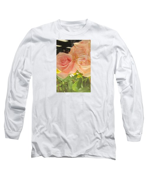 Peach Roses In Greeting Card Long Sleeve T-Shirt
