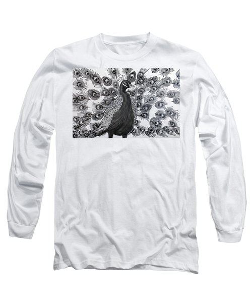 Long Sleeve T-Shirt featuring the drawing Peacock Walk by Megan Dirsa-DuBois