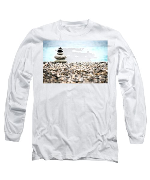 Pebble Stone On Beach Long Sleeve T-Shirt by Yew Kwang