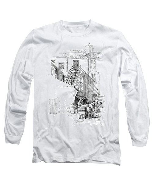 Long Sleeve T-Shirt featuring the drawing Peel Back Street by Paul Davenport