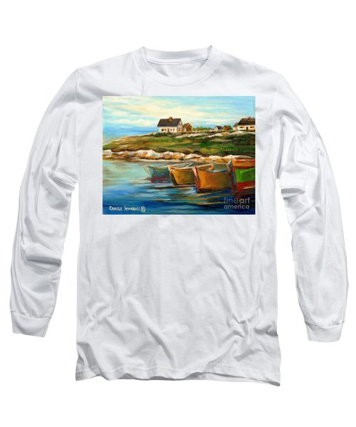 Peggys Cove With Fishing Boats Long Sleeve T-Shirt by Carole Spandau