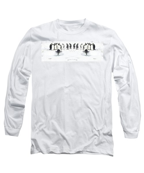 Long Sleeve T-Shirt featuring the photograph Penguin Lunch Time by R Muirhead Art
