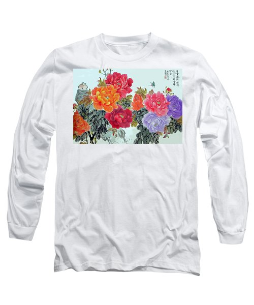 Long Sleeve T-Shirt featuring the photograph Peonies And Birds by Yufeng Wang