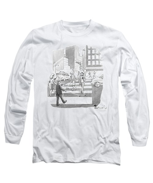 People Are Crossing The Street Looking Long Sleeve T-Shirt