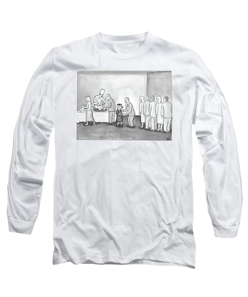 People Are In Line To Be Served Portions Long Sleeve T-Shirt