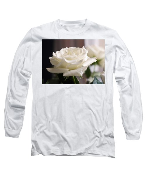 Perfect White Rose Long Sleeve T-Shirt by Connie Fox