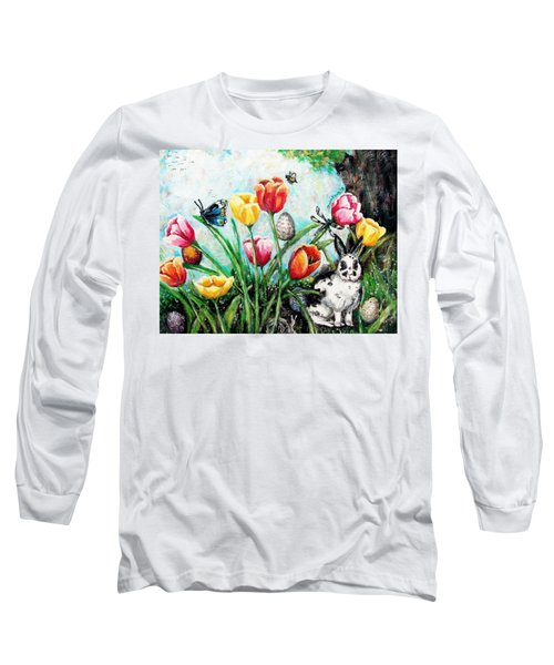 Long Sleeve T-Shirt featuring the painting Peters Easter Garden by Shana Rowe Jackson