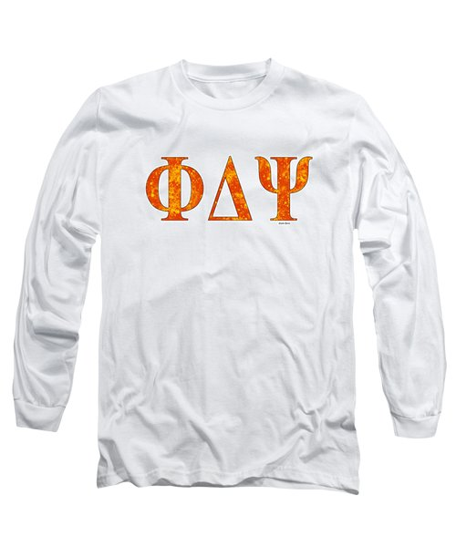 Long Sleeve T-Shirt featuring the digital art Phi Delta Psi - White by Stephen Younts