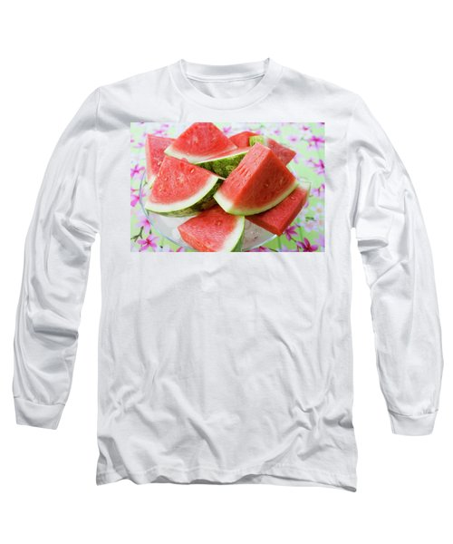 Pieces Of Watermelon On A Glass Platter Long Sleeve T-Shirt