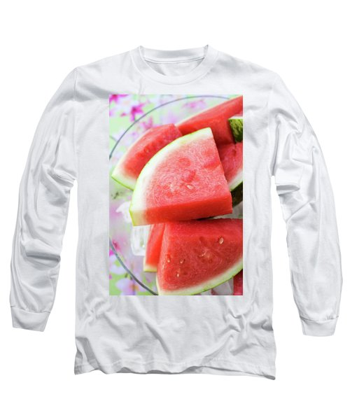 Pieces Of Watermelon On A Platter Long Sleeve T-Shirt
