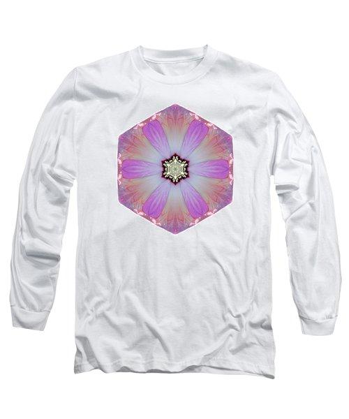 Pink And White Hibiscus Moscheutos I Flower Mandala White Long Sleeve T-Shirt