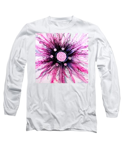 Pink Black Elegance Alcohol Inks Abstract Long Sleeve T-Shirt
