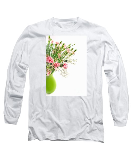 Pink Carnation Flowers Long Sleeve T-Shirt by Vizual Studio