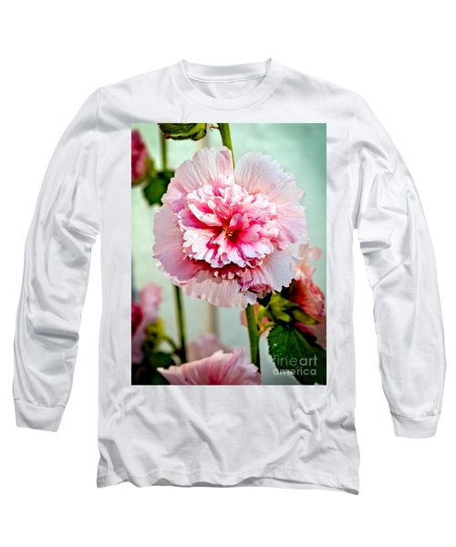 Pink Double Hollyhock Long Sleeve T-Shirt