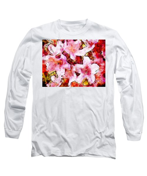 Long Sleeve T-Shirt featuring the painting Pink Flowers 2 by Greg Collins