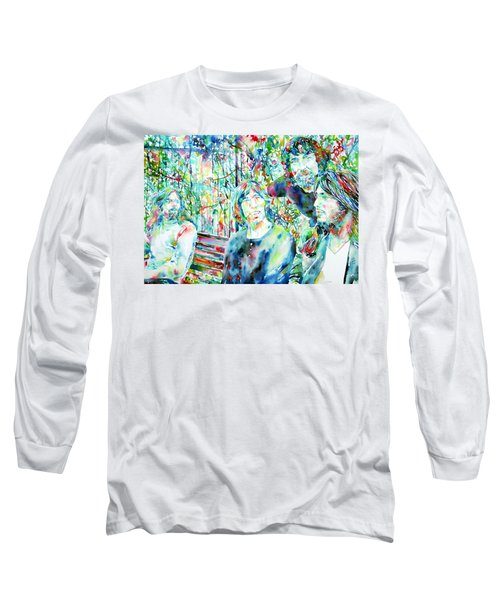 Pink Floyd At The Park Watercolor Portrait Long Sleeve T-Shirt by Fabrizio Cassetta