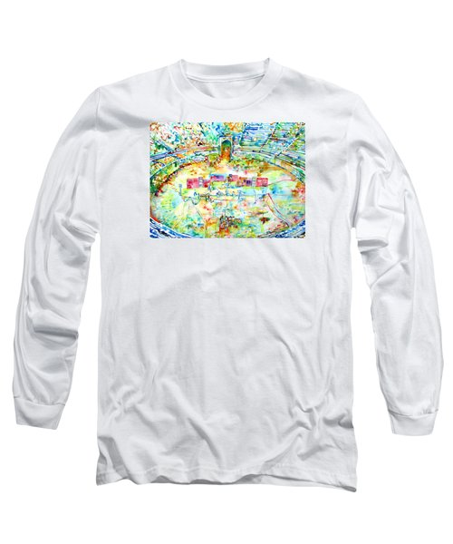 Pink Floyd Live At Pompeii Watercolor Painting Long Sleeve T-Shirt