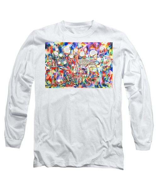 Pink Floyd Live Concert Watercolor Painting.1 Long Sleeve T-Shirt
