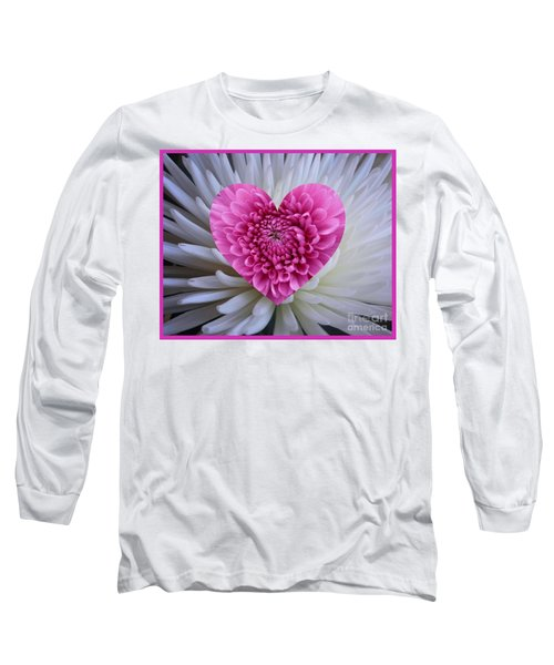 Pink Heart On White Long Sleeve T-Shirt