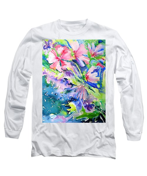 Pink Lavatera Profusion Long Sleeve T-Shirt by Trudi Doyle