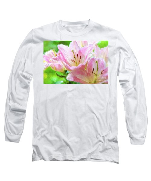 Pink Lilies Digital Painting Impasto Long Sleeve T-Shirt