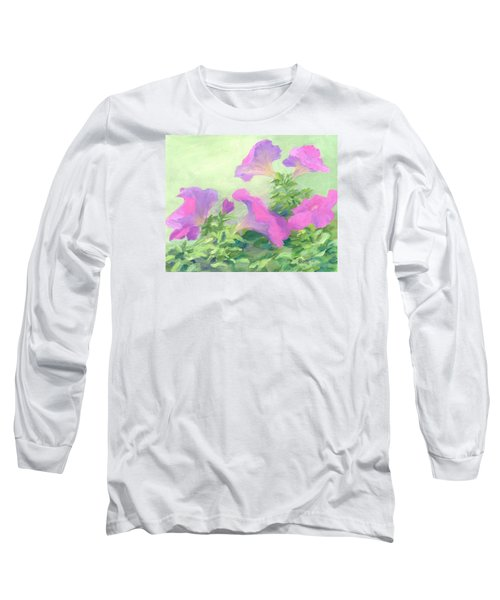 Pink Petunias Beautiful Flowers Art Colorful Original Garden Floral Flower Artist K. Joann Russell  Long Sleeve T-Shirt